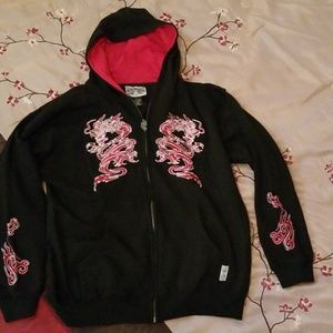 Dragon Embroidered Zipper Hoodie